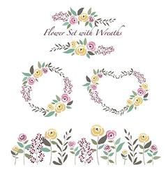 Flowers and flower wreaths set in flat de vector