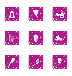 Fountain of youth icons set grunge style vector