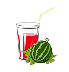 glass with watermelon juice vector image