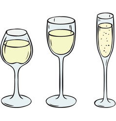 Glasses with white wine and champagne vector