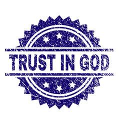 Grunge textured trust in god stamp seal vector