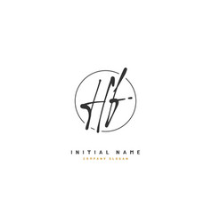 h f hf beauty initial logo handwriting logo vector image