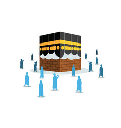 Hajj pilgrimage silhouette move to kaaba vector