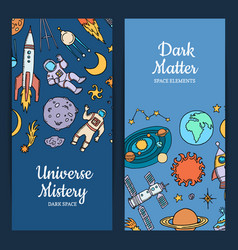 Hand drawn space elements web banners vector