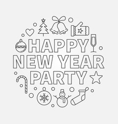 happy new year party round concept line vector image