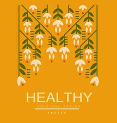 healthy poster original design ecological vector image