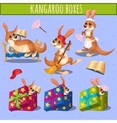 Home care cute kangaroo and gift boxes vector