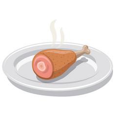 hot chicken drumstick vector image
