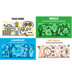 Human managing skills banner set outline style vector