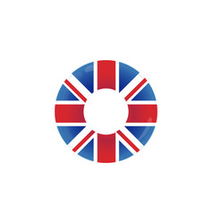 Inflatable swimming ring with british flag - union vector