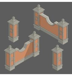 isometric fence set construction kit vector image