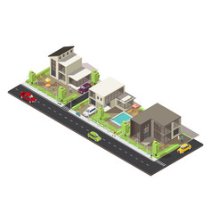 isometric suburban district concept vector image