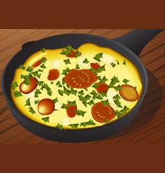 italian frittata in an iron vector image