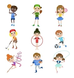 Kids Doing Sports Set vector image