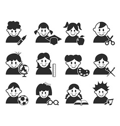 Kids head with education icons set vector