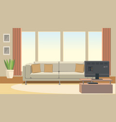 living room interior with sofa and tv flat vector image