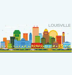 Louisville kentucky usa city skyline with color vector
