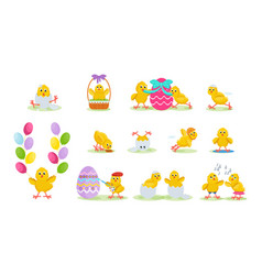 lovely chickens have fun in easter run fly vector image