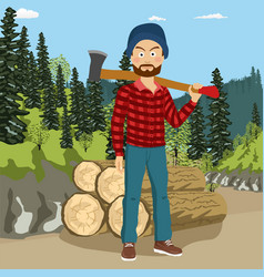 Lumberjack man holding big axe in forest vector