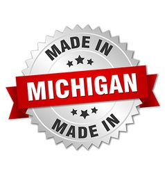 made in Michigan silver badge with red ribbon vector image