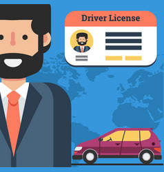 Man with driver license and car vector