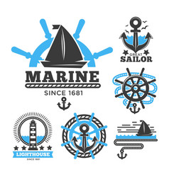 marine and nautical logo templates or heraldic vector image