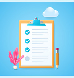 Marked checklist in 3d style vector