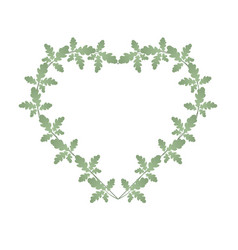 oak leaves and heart shape frame heart entwined vector image
