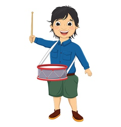 Of A Little Boy Playing Drum vector image