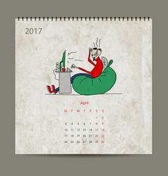 office life calendar 2017 design vector image