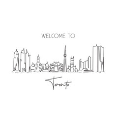 one continuous line drawing toronto city vector image
