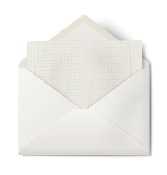 Opened envelope with sheet squared paper inside vector