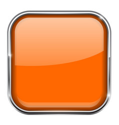 Orange square button shiny 3d icon with metal vector