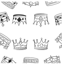 Pattern of various crown hand draw vector