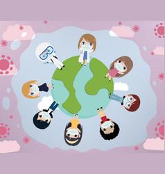 People world unity against corona virus covid-19 vector