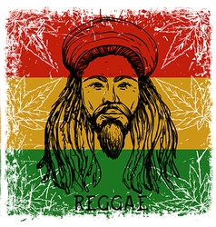 Portrait of rastaman and cannabis leaves vector