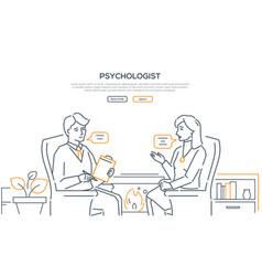 Psychologist - modern line design style web banner vector