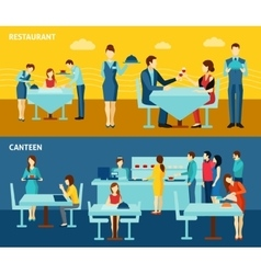 Public catering 2 flat horizontal banners vector