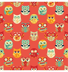 Red Seamless Pattern with Owls vector