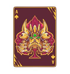 Robot head on poker card vector