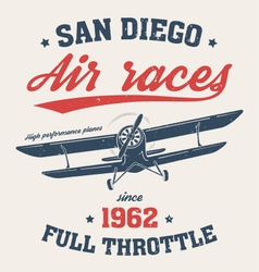 san diego t shirt with old airplane vector image