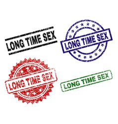 scratched textured long time sex seal stamps vector image