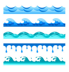 Seamless blue water wave bands set for footers vector