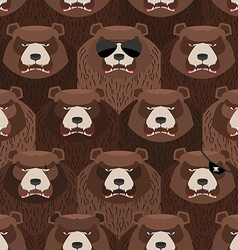 Seamless pattern of brown angry bear A flock of vector