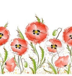 Seamless Texture with Red Poppy Flowers vector image