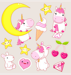 set cute unicorns stickers in kawaii style vector image