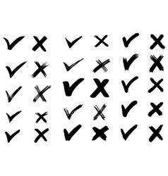 Set hand drawn check v signs isolated on vector