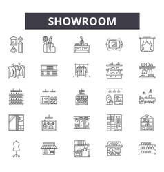 Showroom line icons signs set linear vector