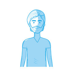 silhouette cute man with hairstyle and beard vector image