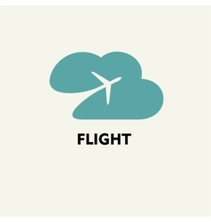 Silhouette of flying plane in the cloud Template vector
